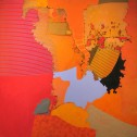 Richard Kinnaird, Exposition, acrylic and fiber on panel, 47.75 x 47.75