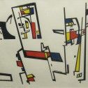 Anne Wall Thomas, Linear Construction with Color, 1953 serigraph 14 x 18.5