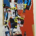 Anne Wall Thomas, Parisian Red, 1993 collage 15 x 10