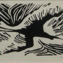 Anne Wall Thomas, Rite of Passage, 1945 lino cut 4 x 6